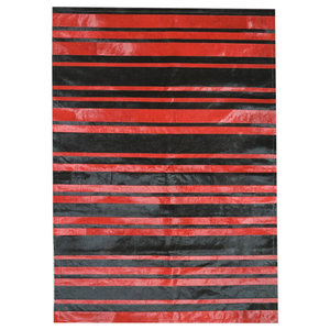Patchwork Leather Cowhide Rug, Red/Black Stripes, 140x200 Cm