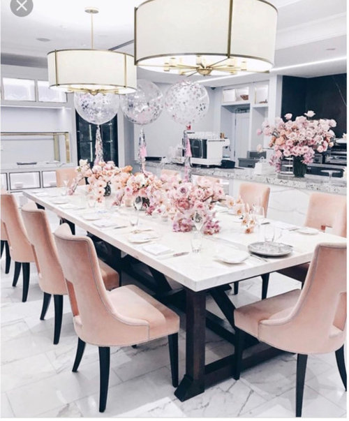 Dining Room Accessories: DINING ROOM DECOR: Blush/Gold/Marble
