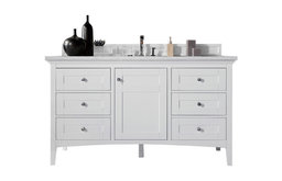 """Palisades 60"""" Single Vanity, Bright White Cabinet Only"""