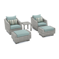 Cannes 5-Piece Club Chair and Ottoman Set, Bliss Blue