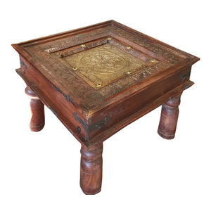 Mogul Interior - Consigned Antique Hand-Carved Brass Table - Coffee Tables