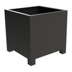 Adezz Aluminium Planter, Black Grey, Florida Cube with Feet, 80x80cm