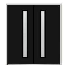 """Frosted 1-Lite Fiberglass Smooth Double Door 66""""x81.75"""" Right Hand In-swing"""