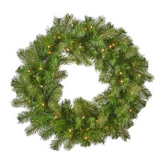 """24"""" Mixed Spruce Warm White LED Artificial Christmas Wreath, Green"""