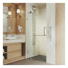 "VIGO Pirouette Frameless Shower Door, 36"", Brushed Nickel"