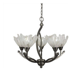 Bow 5-Light Chandelier Brushed Nickel Italian Ice Glass