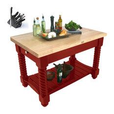 John Boos 72x32 Tuscan Island Table TUSI7232 13pc Henckels Set