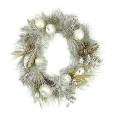 """Northlight Seasonal - 24"""" Glitter Champagne Gold Pomegranate Apple Pine Cone and Berry Wreath - Wreaths and Garlands"""