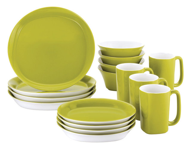 Dinnerware Round And Square 16-Piece Stoneware Dinnerware Set Green  sc 1 st  Houzz : square stoneware dinnerware sets - pezcame.com