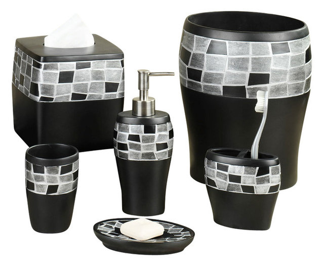 black mosaic bathroom accessories. 6 Piece Mosaic Stone and Resin Bath Accessory Set  Black