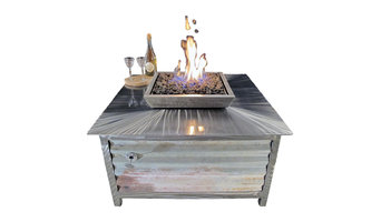 Impact Fire Table, Stainless Steel, Square, Natural Gas