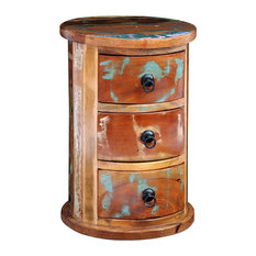 VidaXL Reclaimed Solid Wood Round Cabinet With 3 Drawers