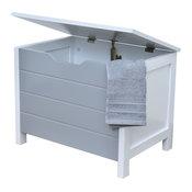 Storage Chest Soft-Close Cover Cap Ferret Wood White Modern D