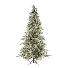 Flocked Mountain Pine Christmas Tree, 9', Clear Led Lights