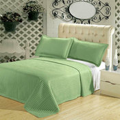 Wrinkle-Free Checkered Quilted Coverlet Set, Sage, King/Cal King