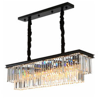 Clear Crystal Rectangle Island Dining Room Chandelier Lighting Fixture
