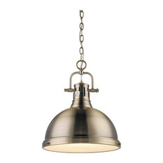Duncan 1-Light Pendant With Chain, Aged Brass With Aged Brass
