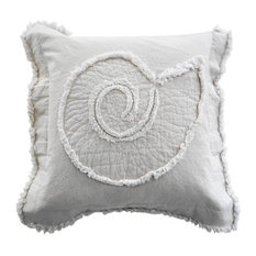 Coastal Nautilus Throw Pillow, Ivory on Ivory
