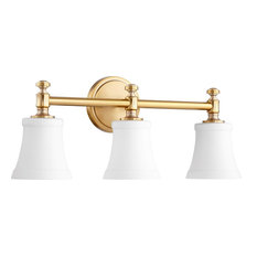 Quorum Rossington 3-Light Vanity, Aged Brass With Satin Opal