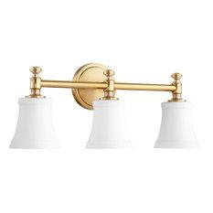 50 most popular brass bathroom vanity lights for 2018 houzz quorum quorum rossington 3 light vanity aged brass with satin opal bathroom aloadofball Image collections