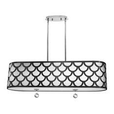 Hanoi 4-Light Oval Pendant, Polished Chrome, Black and White