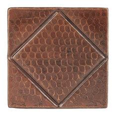 "4""x4"" Hammered Copper Tile, Diamond Design, Quantity of 4"