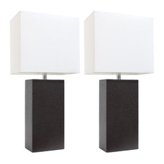 2-Pack Modern Leather Table Lamps With White Fabric Shades, Espresso Brown