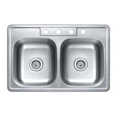 Trendy kitchen sinks for 2018 houzz winflo top mount double bowl stainless steel kitchen sink 33x22 workwithnaturefo