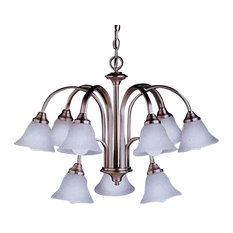 Kichler 9 Light 2 Tier Brushed Nickel Chandelier With Etched Seedy Glass