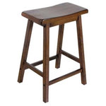 Acme Furniture - Gaucho Counter Height Stools, Walnut, Set of 2 - The Gaucho Counter Stools give your kitchen or bar design a leg up with country charm. Hop onto the wooden saddle seat and put your feet up on the footrest as you unwind after work. Each piece in this set of two features square legs and a distressed texture for a playful take on industrial style. Acme Furniture constructed this unique piece for your urban living space.