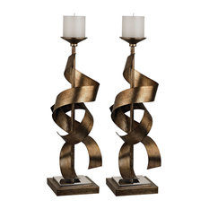 Candle/Candle Holder Sculpted Metal Candle Holders, Set of 2