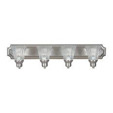 Four Light Bath Vanity Satin Nickel Prismatic Clear Glass