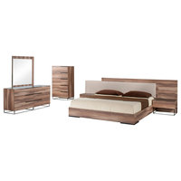 Nova Domus Matteo Italian Modern Walnut 5-Piece Bedroom Set, Eastern King