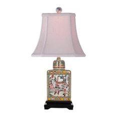 "Porcelain Rose Medallion Tea Caddy Lamp 18"""