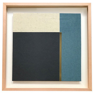 Blue Mixed Media Artwork With Vertical Brass Line, 60x60 cm