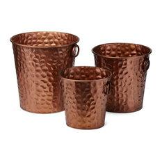Certa Copper Finish Planters, Set of 3