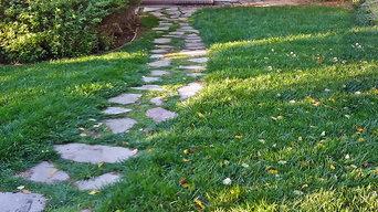 Flagstone Walkway in a Lawn