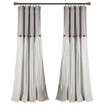 "Triangle Home Fashions - Linen Button Single Window Panel, Gray/White, 95""x40"" - Add the elegance of linen to your home with these farmhouse chic curtains. Color blocking is always in style and we love the details of pleats and buttons. Slight weave variations are authentic to this natural fiber blend and create a one-of-a-kind look.1 Window Panel: 95""H x 40""W"