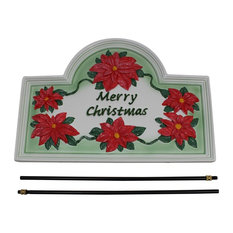 Plaque White Cast Metal Christmas With Stand