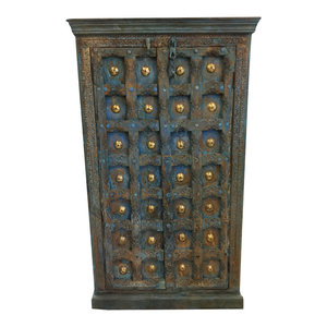 Mogul Interior - Consigned Antique Armoire Distressed Blue Brass Patina Chakra Grooved Wardrobe - Armoires And Wardrobes