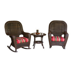 "Tortuga Outdoor - Sea Pines Rocker And Set, 2 Rockers, 1 Side Table, Java, 31""x26""x42"", Monserrat - Outdoor Lounge Sets"
