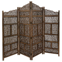 Hand Carved Foldable 4-Panel Wooden Partition Screen/Room Divider, Brown