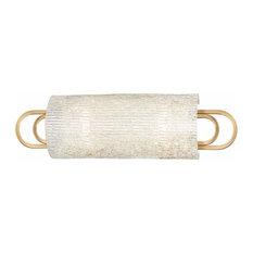 Buckley 2-Light Bath Bracket With Clear Glass, Aged Brass