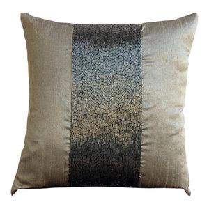 Metallic Beaded Gray Art Silk 65x65 Euro Pillowcase, Gunmetal Center
