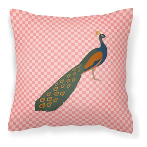 Indian Peahen Peafowl Pink Check Fabric Decorative Pillow Contemporary Outdoor Cushions And Pillows By The Store
