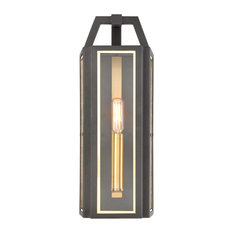 Portico 1-Light Sconce, Charcoal With Clear Glass