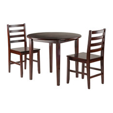 Winsome Clayton 3-Piece Set Drop Leaf Table With 2 Ladderback Chairs