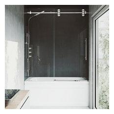 VIGO 60x66 Elan Adjustable Frameless Sliding Tub Door, Stainless Steel