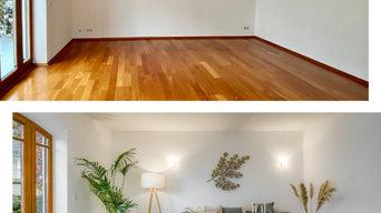 Einfamilienhaus Solln - Vorher / Nachher Wohnzimmer