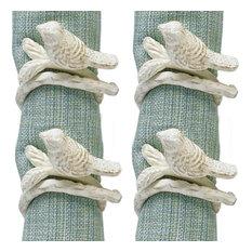 Park Designs - Songbird Bird Tree Branch White Painted Metal Napkin Rings, Set of 4 - Napkin Rings